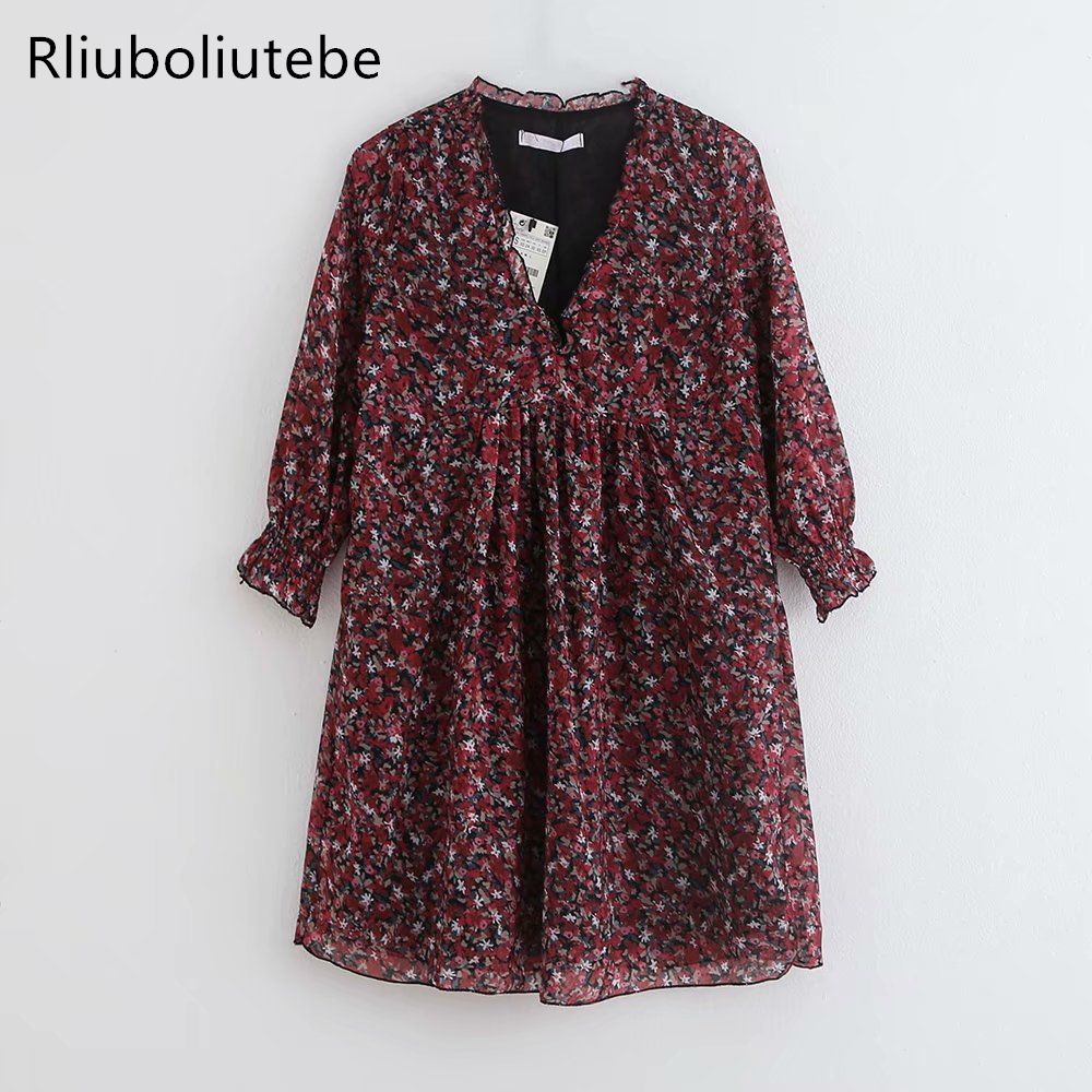 V Neck Floral Print Ruffles Dress Women Long Flare Sleeve Short Sexy High Waist Floral Mini Dress Vestidos Mujer