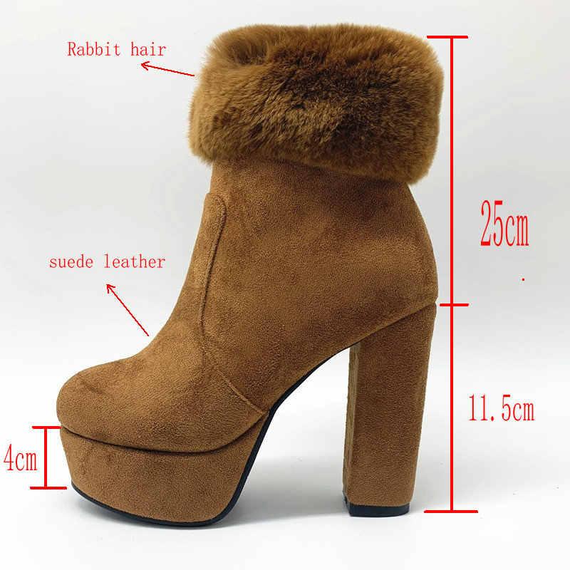 NEMAONE Süet deri kar botları kadın yüksek topuklu platform yarım çizmeler kadın yuvarlak ayak sonbahar kış ayakkabı büyük boy 41 42 43