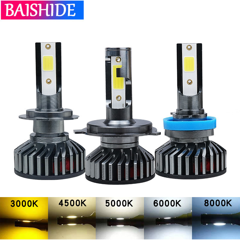 BAISHIDE Car Headlight H7 LED H4 H1 H11 LED H3 H13 9006 9007 60W 8000LM 6500K 8000K 5000K  12V Auto Headlamp COB Fog Light Bulb