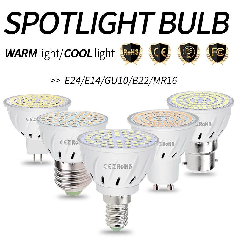 Spot Light LED Lamp E27 LED Bulb GU10 Spotlight MR16 GU5.3 220V Lampara E14 Corn Bulb B22 48 60 80leds Gu 10 Home Lighting 2835