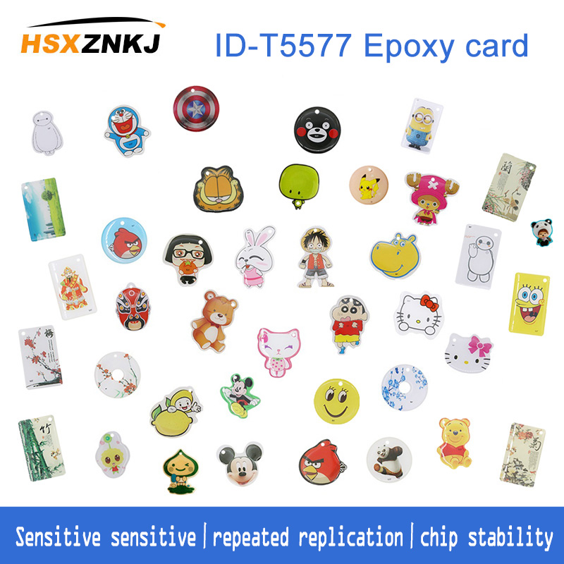 2/3/5pcs Rfid T5577 Tag Empty Card Badges For Id Copying Machine Clone Access Card Copying Machine 125khz Token Tag Keychain Key