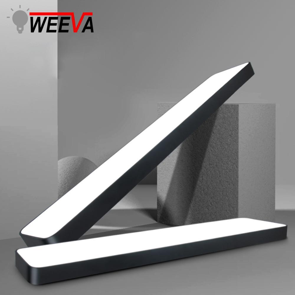 Luminária led moderna de teto, luminária retangular para sala de estar, escritório, montagem em superfície, quarto 220v 110v painel remoto controle de controle