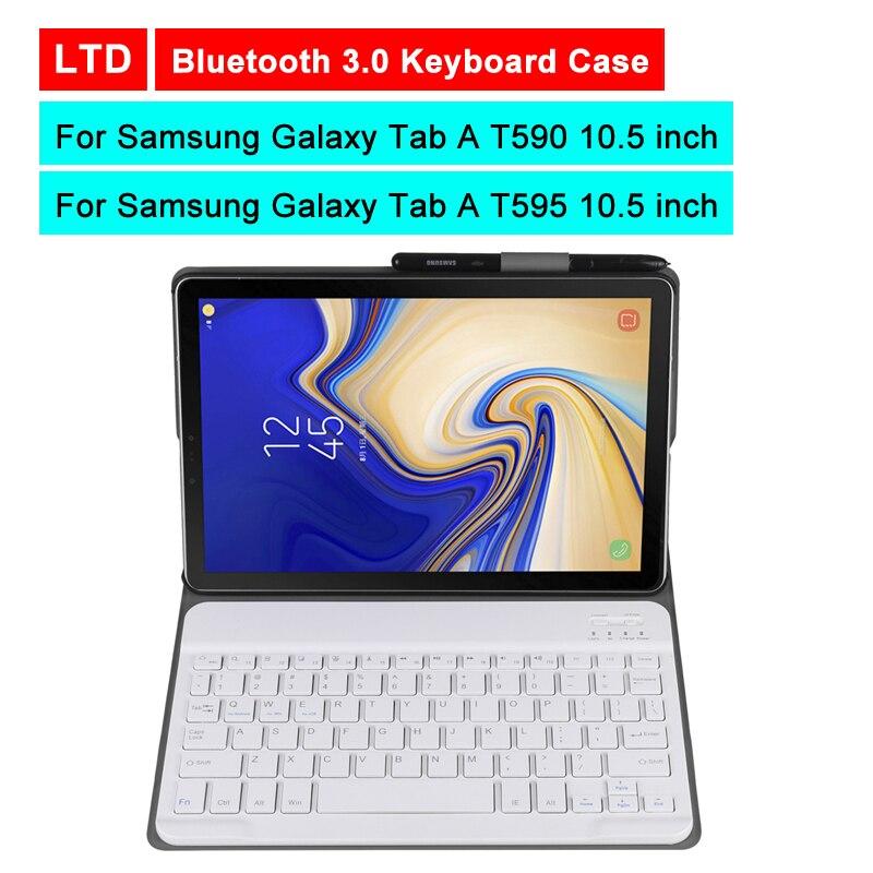 Bluetooth 3.0 tablette clavier étui pour samsung Galaxy Tab A T590/T595 10.5 pouces Mediapad cuir housse de protection support de support