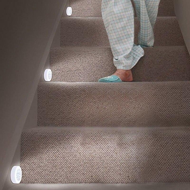 6 LED Night Light Motion Sensor Toilet Light Lamp Magnetic Wireless Detector Wall Lamps Auto On/Off Closet Hallway Cabinet Light