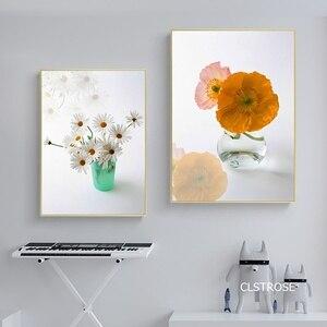 Маленькая свежая и чистая ваза цветы Скандинавский современный стиль постеры Искусство Холст картинки для гостиной Декор Живопись без рам...