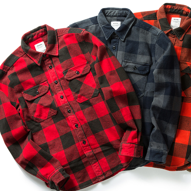 100% cotton heavy weight retro vintage classic red black spring autumn winter long sleeve plaid shirt for men women 1