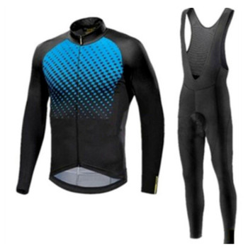 Mavic 2019 z długim rękawem jesień/wiosna jazda na rowerze Jersey zestaw spodnie na szelkach odzież rowerowa Mtb odzież ubrania rowerowe zużycie Maillot Ropa ciclismo