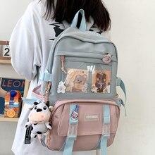 DIEHE New Waterproof Nylon Women Backpack Female Kawaii Travel Bag College Girls Multi-pocket Schoolbag Laptop Backpack School