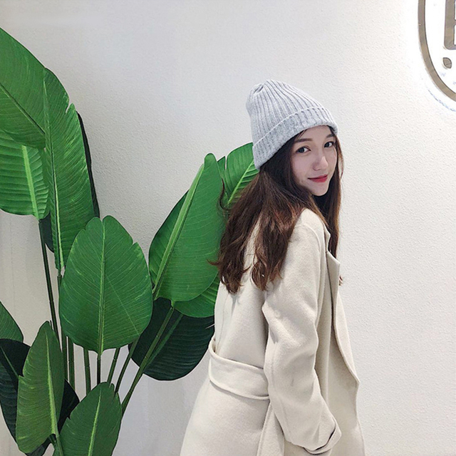 New Winter Solid Color Knit Beanie Casual Hat Warm Soft Thicken Hedging Cap 2