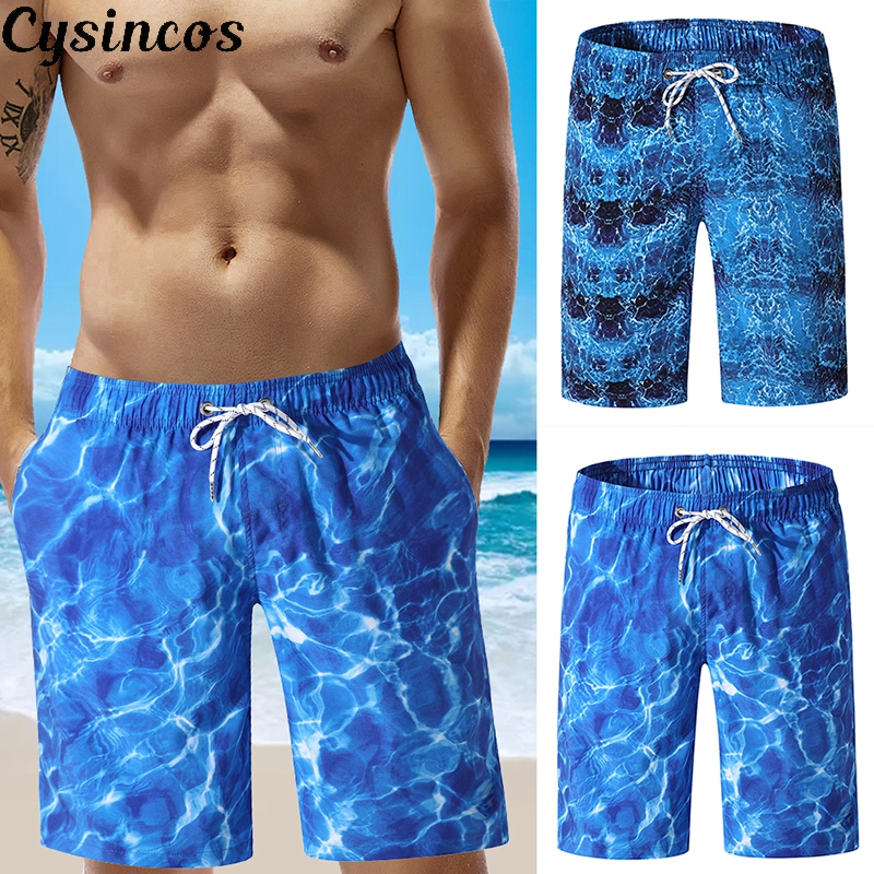 CYSINCOS Swimming Beach Shorts Men Swimwear Quick Dry Swimsuit Swim Trunks Beachwear Bathing Surf Summer Running Pocket Bottoms