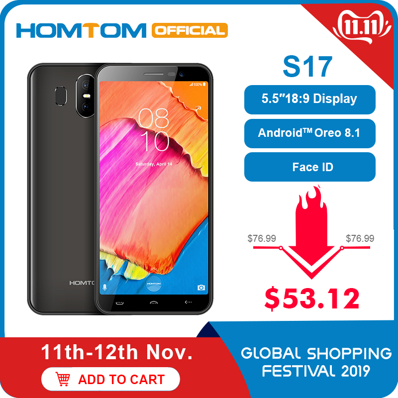 Homtom S17 5.5 Inch 18:9 Display 3000mAh Face ID Fingerprint Mobile Phone Android 8.1 2GB 16GB ROM 13MP+2MP Dual Cam Smartphone