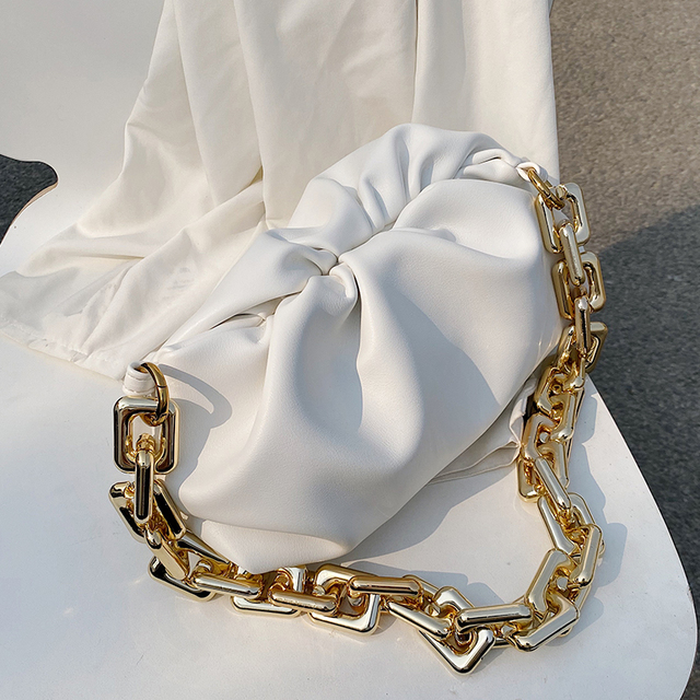 Pleated Tote Bag With Gold Chain