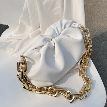 Jednokolorowa plisowana torba z grubej bawełny 2021 modna nowa wysokiej jakości miękka skóra damska designerska torebka torby podróżne na ramię torba pod pachami tanie i dobre opinie SWDF Hobos Torby na ramię Na ramię i torby crossbody CN (pochodzenie) klamerka SOFT NONE moda LYX0616 POLIESTER Versatile