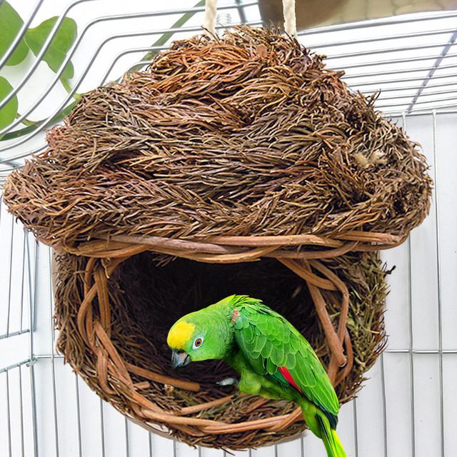 5 Styles Birds Nest Bird Cage Natural Grass Egg Cage Bird House Outdoor Decorative Weaved Hanging Parrot Nest Houses Pet Bedroom 2