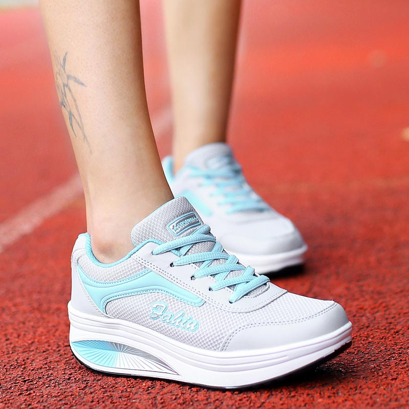 Height Increasing Women's Sneakers Platform Sports Shoes Lady Sport Shoes Woman Running Shoes Women Trainers Summer Gray A-387