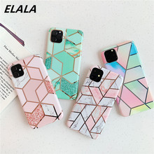 Glossy Plating Geometric Marble Phone Case For iPhone 11 Pro XS Max X XR 6 7 8Plus Cover Candy Color Soft IMD Electroplated