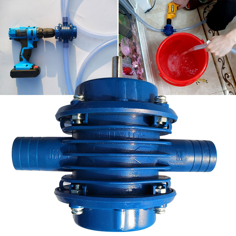 Metal Blue Hand Drill Pump Self Priming Pump DIY Home Water Pump Convenient Practical Household Garden for Tools image