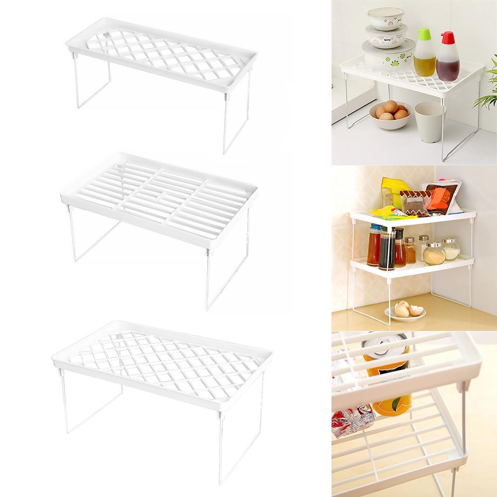 Kitchen Adjustable Storage Rack Metal Cupboard Storage Shelf Non-Skid Spice Rack Single Layer Kitchenware Organizer Saving Space