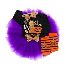Pumpkin Print Baby Girl Clothes Newborn Halloween Costumes Bodysuit+Skirt+Headband+Knee Pads Toddler Costume D35