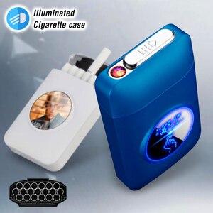 Resin Metal Capacity Cigarette case recharged with USB Electric Lighter Logo Design Cigarette 19PCS Cigarette Holder Men Gifts(China)
