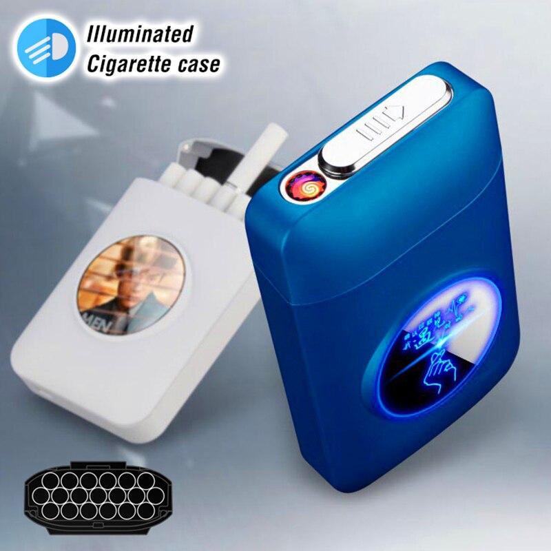 Resin Metal Capacity Cigarette case recharged with USB Electric Lighter Logo Design Cigarette 19PCS Cigarette Holder Men Gifts