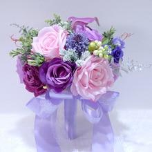 Boeket ramo de rosas de boda púrpura para novia dama de honor flores artificiales Vintage ramo decoración de la boda del hogar PH020