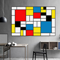 Картина RELIABLI на холсте  абстрактное искусство  современные принты  Постер от Piet Mondrian  настенные картины для декора гостиной  куадро без рамк...
