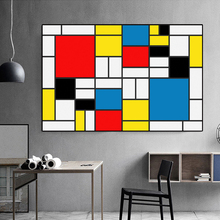 abstract-squares-Composition by Piet Cornelies Mondrian Giclee poster print on canvas for wall decoration