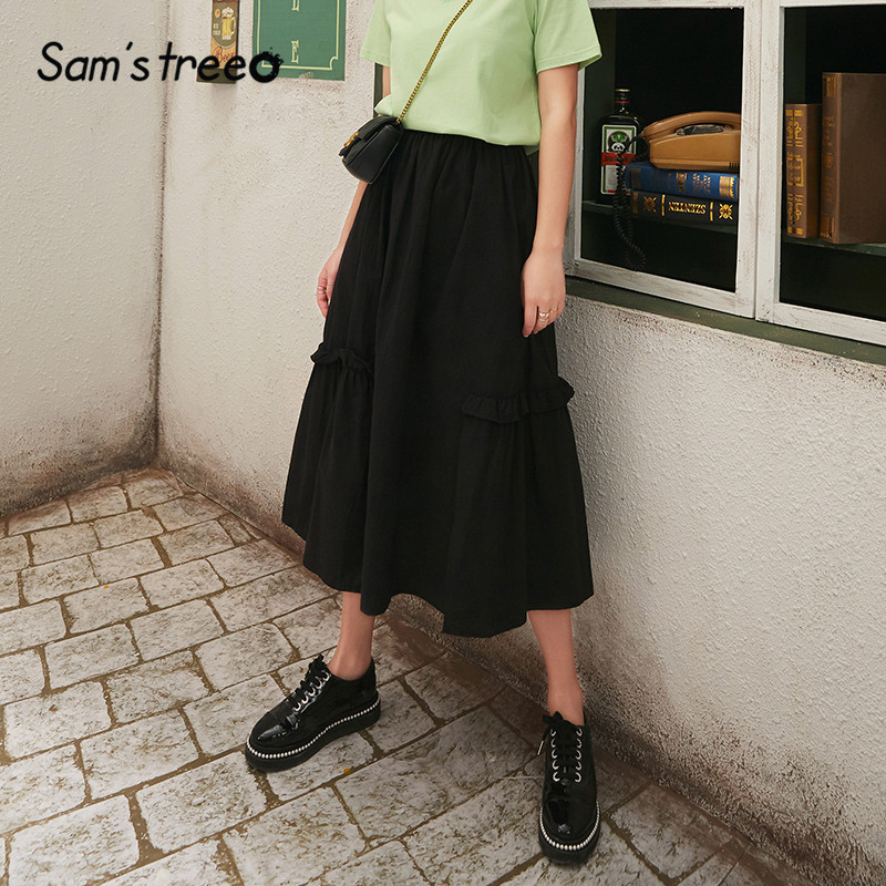 SAM'S TREE Black Solid Elastic Waist Casual Preppy Skirts Women 2020 Spring New Frill A Line Korean Girly Daily Long Skirts