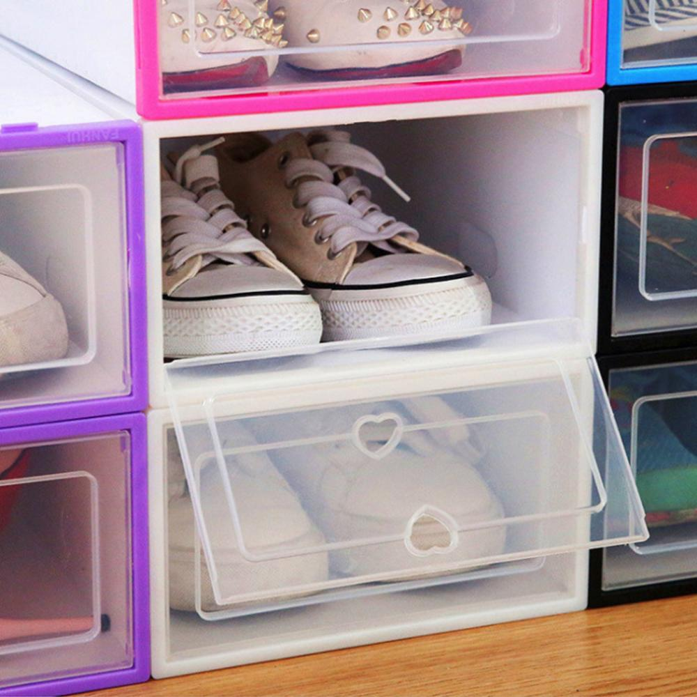 6PCS Transparent and Stackable Shoes Box Organizer of Plastic 5