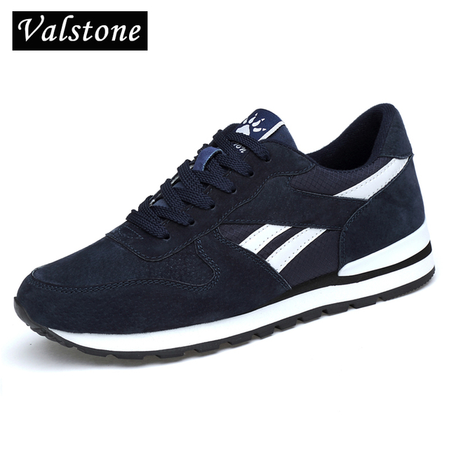 Valstone Men Split leather sneakers Breathable casual shoes non slip outdoor walking shoes light weight Quality Jogging Trainers