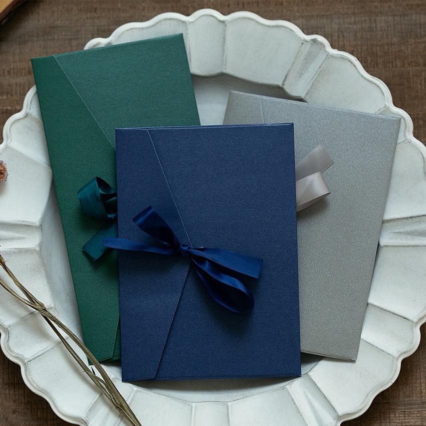 Vintage Colorful Pearlescent Paper Envelope With Bow Ribbon, Gift Window Envelopes Wedding Invitation Postcard Envelope