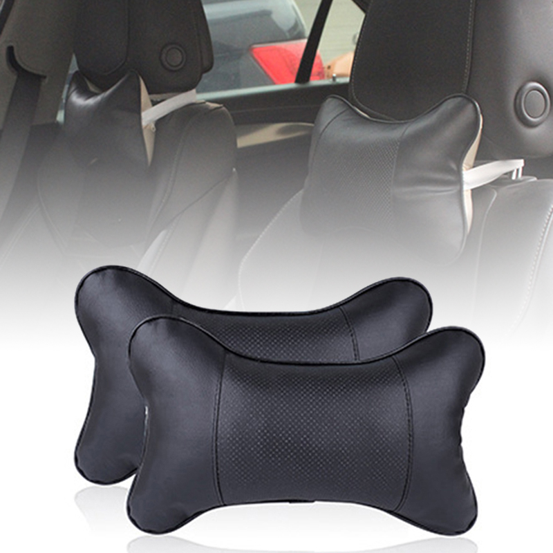Black Car Headrests Accessories 2PCS Leather Seat Head Rest Cushion Pad Pillow Heat Resistant Comfortable