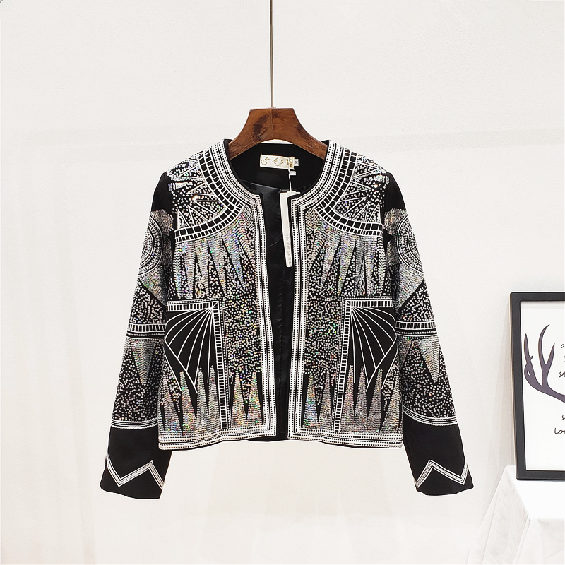 2020 New Spring Summer Woman Sequins Jacket Round Neck Long Sleeve Chic Fashion Coat Bling Embroidery High Quality Vintage Jacke