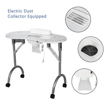 【US Warehouse】Portable MDF Manicure Table Spa Beauty Salon Equipment Desk With Dust Collector & Cushion & Fan White
