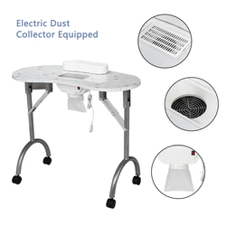 【US warehouse】mesa de manicura portátil MDF equipo de salón de belleza escritorio con colector de polvo y cojín y ventilador blanco