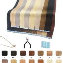 Лента для наращивания человеческих волос Showcoco, натуральные прямые волосы 16-24 дюйма для наращивания, 20/40 шт.