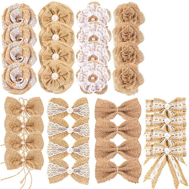 Burlap Lace Flower Pearl Handmade Wedding and Party Decoration