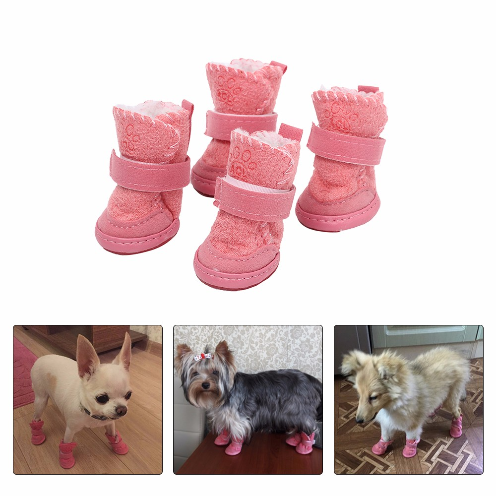 Pet Warm <font><b>Shoes</b></font> Soft Bottom Comfortable Non-slip Winter Dog <font><b>Shoes</b></font> Waterproof for Small Dogs Pet Warm Brown Pink Purple Snow Boots image