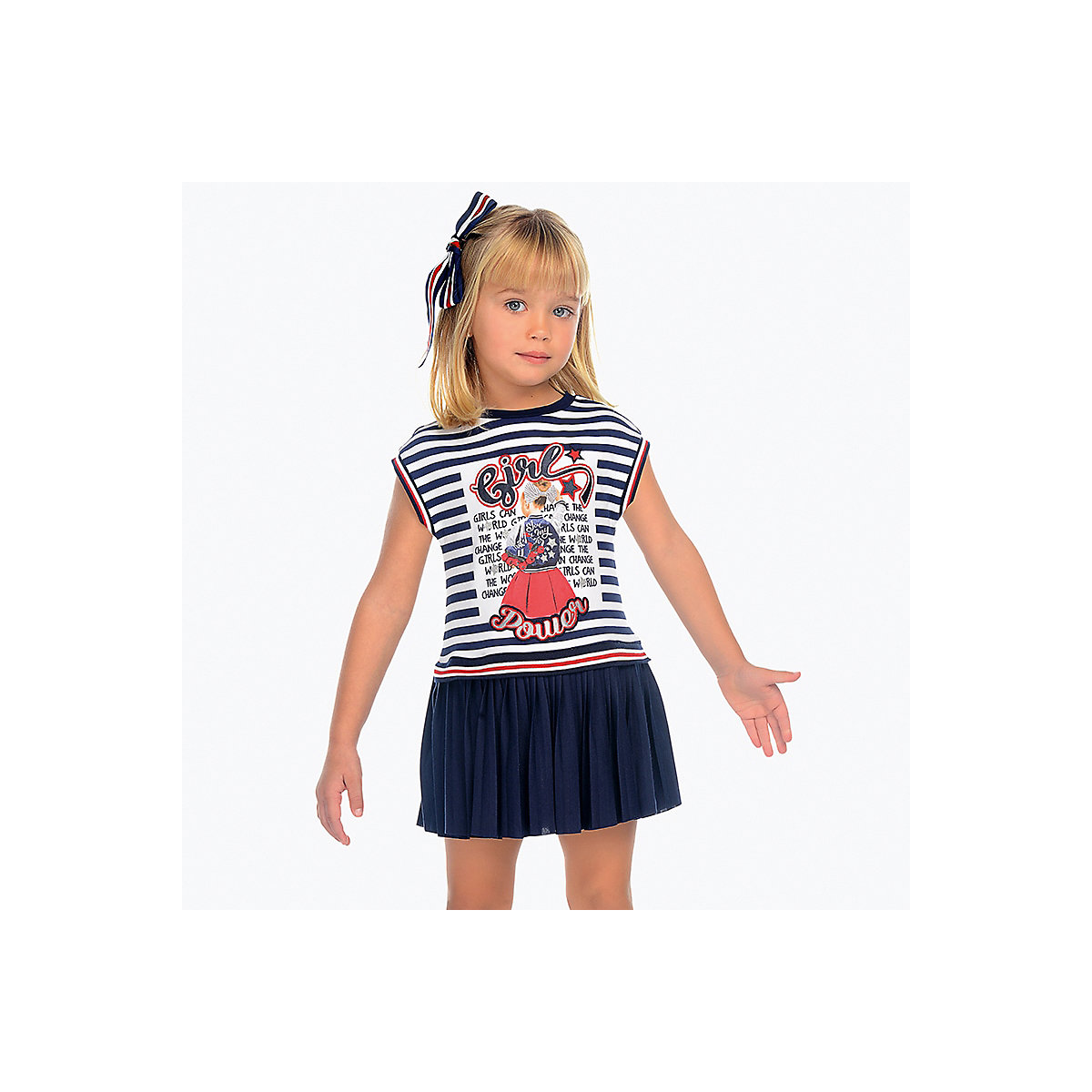 MAYORAL Dresses 10691030 Girl Children fitted pleated skirt Blue Polyester Casual Striped Knee-Length Short Sleeve