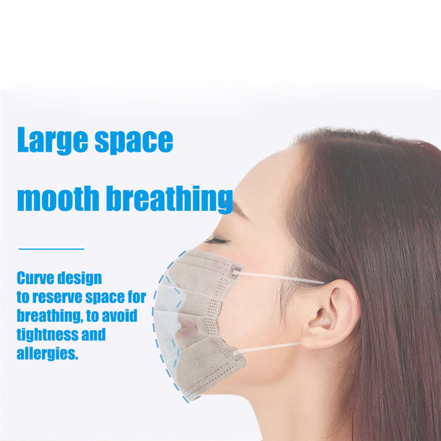 50pcs Disposable N95 Mask 3 Ply Face Mouth Masks Flu Nonwoven Anti Dust Earloops Filter Masks 2