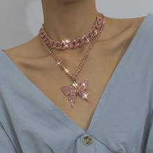 цена на Iced Out Bling Pink Crystal Zircon Butterfly Pendant Layered Necklace Women Girl Hip Hop Cuban Chain Choker Necklace Jewelry