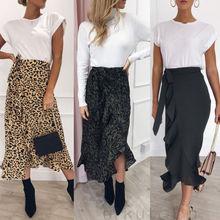 New Fashion Women Long Sleeve  Skirt  Lady Casual High Waist Leopard Print Boho Long Maxi Plus Size Dress
