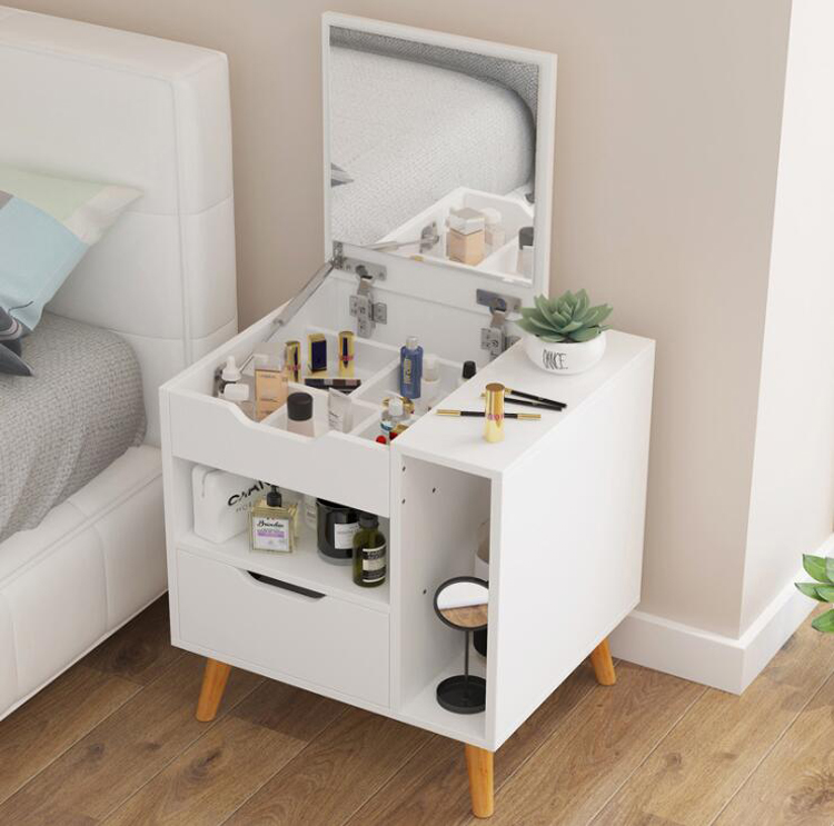 Nordic modern wood dresser nightstand bedroom furniture dressing table with mirror drawer mini bedside table
