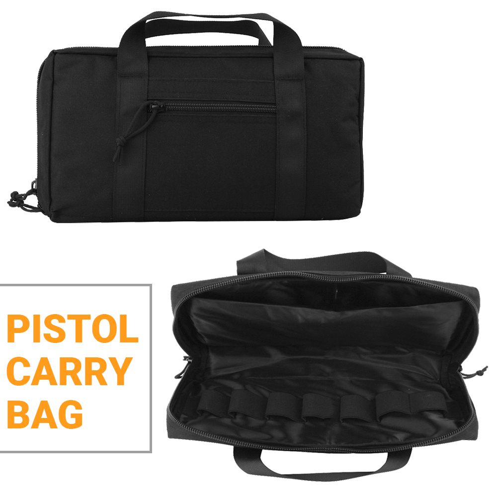 Tactical Pistol Carry Bag Outdoor Portable Military Handgun Holster Pouch Durable Soft Padded Pistol Magazine Carry Case Nylon