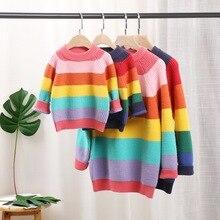 Children Sweaters Rainbow Mother Kids Daughter Pullover Fami