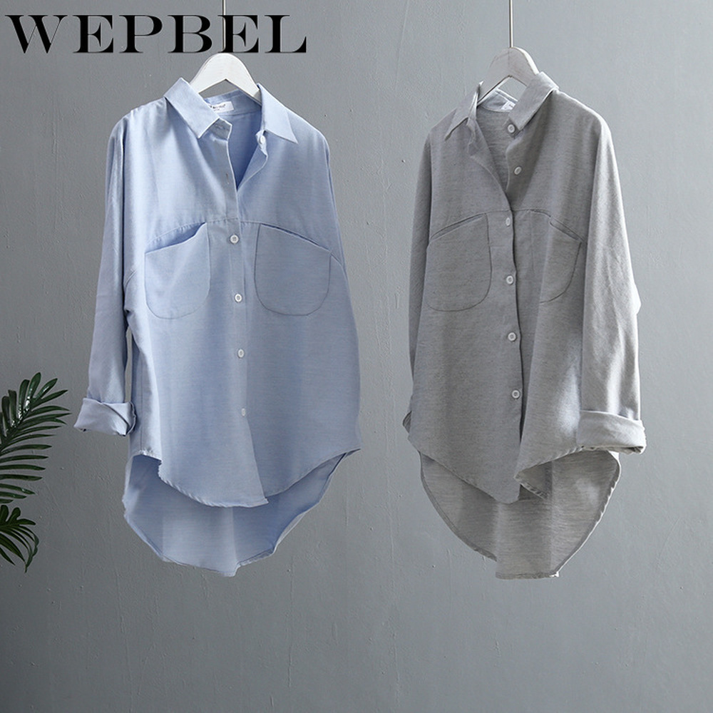 WEPBEL Women Vintage Shirts Spring Summer Blouse Korean Long Sleeve Turn Down Collar Female Tops
