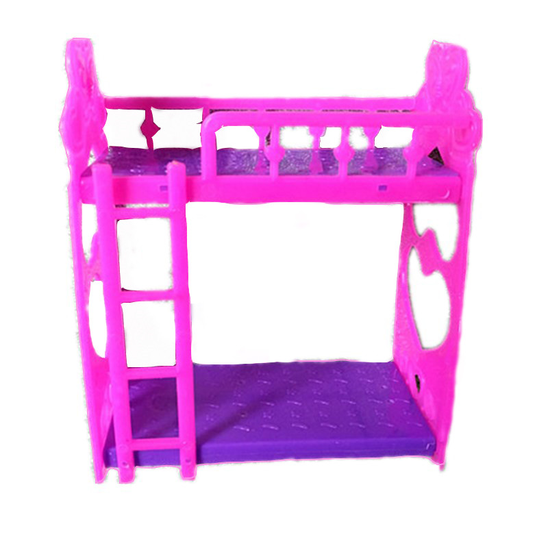 Plastic Double Bed Frame For Doll Bedroom Dollhouse Accessories And Furniture Accessories Purple Pink Or Pink
