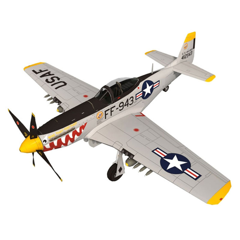 1: 33 P-51D Mustang Paper Model Airplane Bomber Version Airplane Handmade DIY Military Fans