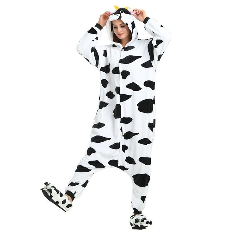 Women Flannel Long Sleeves Cow Cartoon Night Onesies Ladies Autumn Winter Animals Cosplay Sleepwear Girls Home Wear Jumpsuit